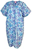 Sindrella Women's Plus Size Cotton Blend Snap Front House Dress with Pcokets (1X, Blue Hydrangeas)