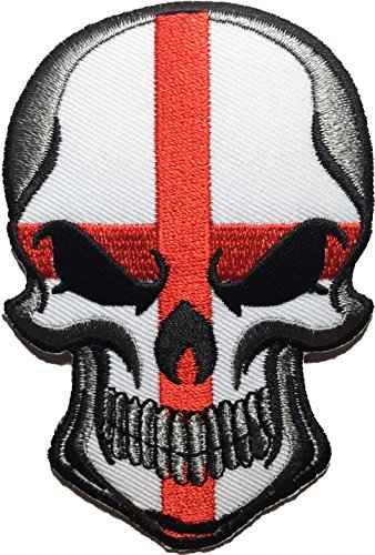 England Flag Skull Embroidered Sew Iron on Patch ()