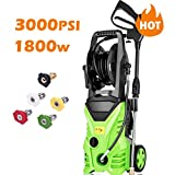 Homdox 3000 PSI Electric Pressure Washer, 1800W Power Washer, 1.80GPM High Pressure Washer, Professional Washer Cleaner Machine with 5 Interchangeable Nozzles 3000PSI