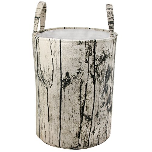 Jacone Extra Large Woodland Theme Tree Stump Shape Design Storage Basket Cotton Fabric Washable Cylindric Laundry Hamper with Strong Soft Handles, Decorative and Convenient for Kids Bedroom
