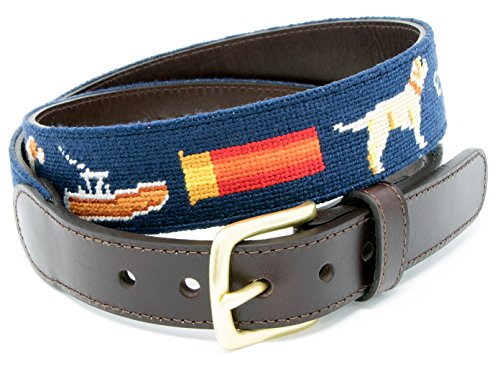 Sportsman Needlepoint Men's Belt Hand-stitched Using Top Quality Cotton on Full Grain Leather Backing (Size 38)