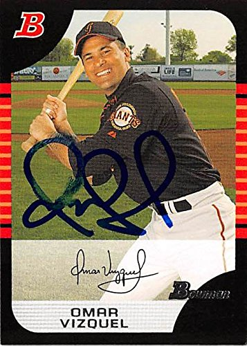 Omar Vizquel autographed baseball card (San Francisco Giants) 2005 Topps Bowman #17 smudging 2005 Topps Autographed Baseball Card
