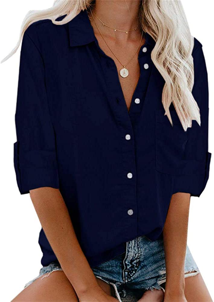 OURS Women Casual V Neck Button Up Shirts Loose Cuffed Sleeve Blouse Tops with Pockets