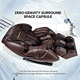 Real Relax Full Body Massage Chair Recliner - Zero Gravity Shiatsu, Armrest Linkage System, with Heater-Brown