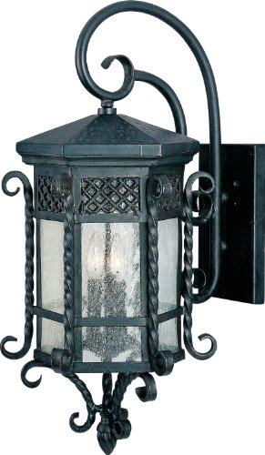 Maxim 30125CDCF Scottsdale 3-Light Outdoor Wall Lantern, Country Forge Finish, Seedy Glass, CA Incandescent Incandescent Bulb , 60W Max., Dry Safety Rating, Standard Dimmable, Fiber Fabric Shade Material, 2600 Rated Lumens