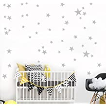 YJYDADA 38Pcs Star Removable Art Vinyl Mural Home Room Decor Kids Rooms Wall Stickers (gray)