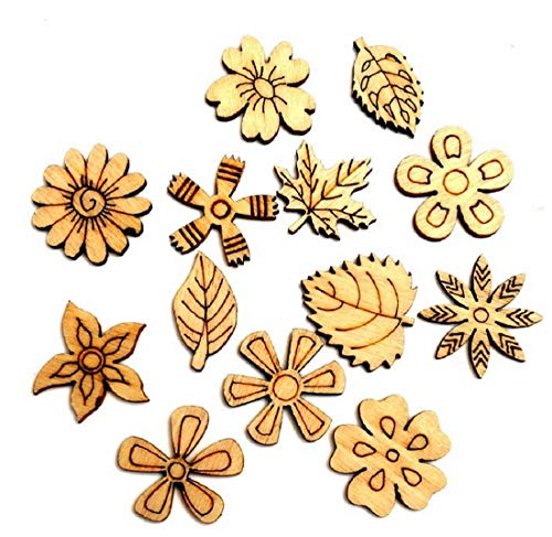 Flower Natural Wood Slices 100pcs Small Natural Embellishments Wooden Cutout Flatback Scrapbooking for Cardmaking DIY Crafts Wood Rustic Wedding Decoration Wooden Pile Ornaments
