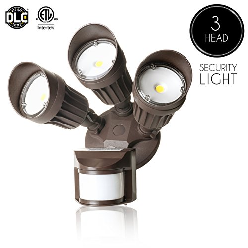 Bronze Outdoor Motion Sensors (Parmida LED Security Light, Bronze, 30W (250W Replacement), Outdoor Motion Sensor Light & Dusk to Dawn Photocell, 3 Adjustable Heads, 2250LM, 5000K (Day Light), Waterproof, ETL & DLC, 120V)