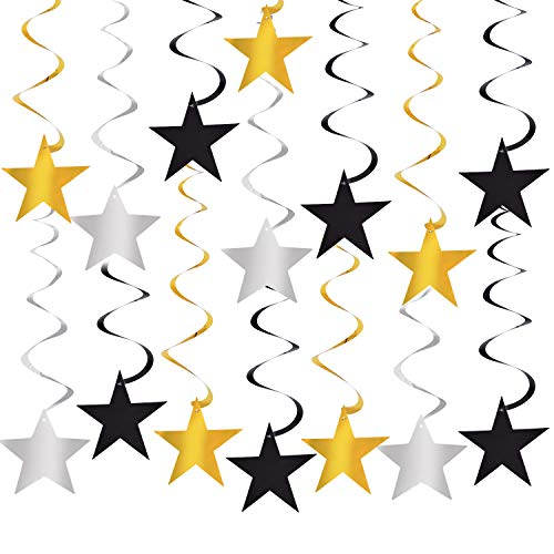 30PCS Graduation Hanging Star Swirls Decorations Garland Black and Gold Silver Foil String Party Supplies (Silver Gold Swirl)