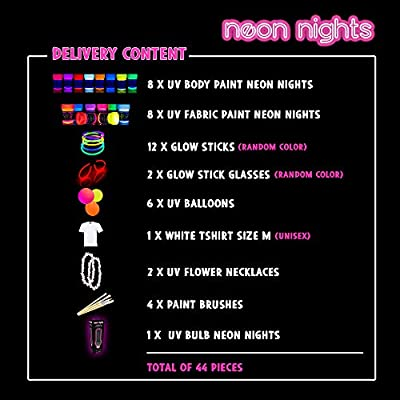Party Set [L] neon nights Fun-Pack 44 pieces with UV Body Paint + Fabric Glow Paints + Black Light Bulb + Glow Sticks | Blacklight Decoration Box: Toys & Games