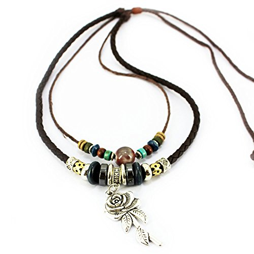 Real Spark Womens Teens Girls Tribal Double Strands Bead Leather Cord Rose Charm Pendant Necklace (Two Person Horse Costume Uk)