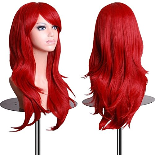 Red Cosplay Wigs 28 inch Big Wavy Heat Resistant Long Curly Hair Ends Halloween Costume Cosplay Party Wavy Curly Wig for Women With Bangs and Free Wig (Red Hair Halloween Costume)