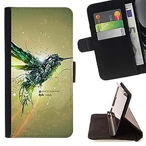 Momo Phone Case / Flip Funda de Cuero Case Cover - Aves Colibrí Mecánico;;;;;;;; - Samsung Galaxy S5 V SM-G900