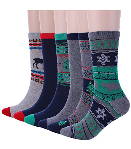 Women's Crew Socks Fashion Ladies Christmas Socks for Casual Holiday 6 Pack