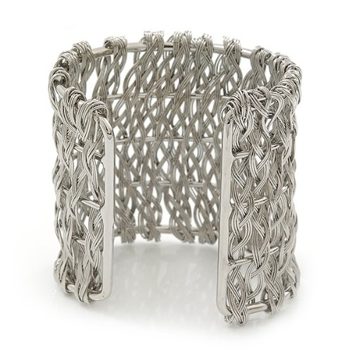 Avalaya Wide 'Woven' Wire Cuff Bracelet In Silver Tone - up to 19cm wrist e2Ql2Y9l