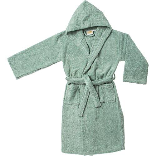 Super 100% Combed Cotton Kid's Hooded Bathrobe, Small/Medium, Sage, Unisex -