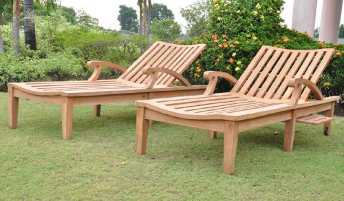 Teak Adjustable Chaise Lounger (New Steamer Teak Multi Position Sun Chaise Lounger with slide out Tray - Furniture only -- ND Collection #WHCHND)