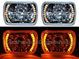 OCTANE LIGHTING 7X6 Amber Led Halo Projector Halogen Crystal Headlights Angel Eye Light H4 Bulbs