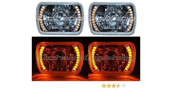 7X6 Red LED Halo Projector Halogen Crystal Headlights Angel Eye H4 Light Bulbs