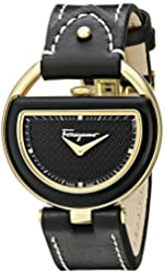 Salvatore Ferragamo Women's FG5010014 Buckle Gold-Coated Stainless Steel Watch with Black Leather Band