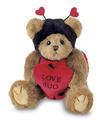 Bearington Love Bug Stuffed Animal Teddy Bear Holding Heart, 10 -