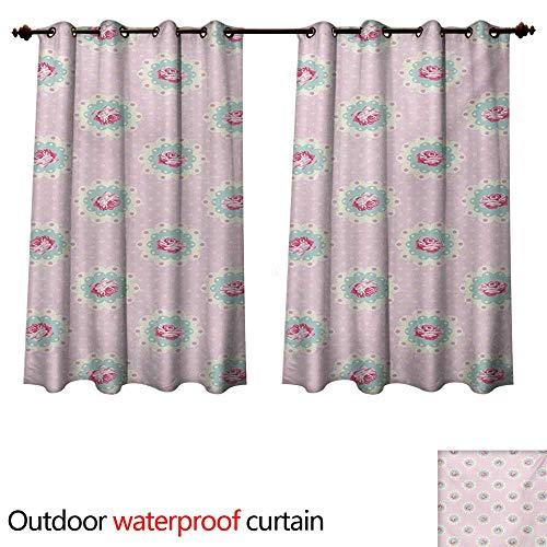 WilliamsDecor Shabby Chic Outdoor Curtain for Patio Retro Style Polka Dotted Backdrop and Floral Motifs Roses Cottage W72 x L63(183cm x 160cm) (Rose Newport Cottage)