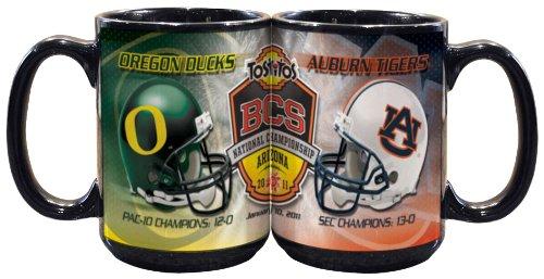 NCAA Auburn Tigers, Oregon Ducks 15oz Black Mug-2011 BCS Dueling Helmet