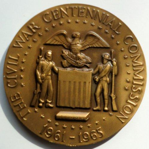 1961-1965 Civil War Centennial Commission Bronz Metal Coin, Grant & - Metal Bronz