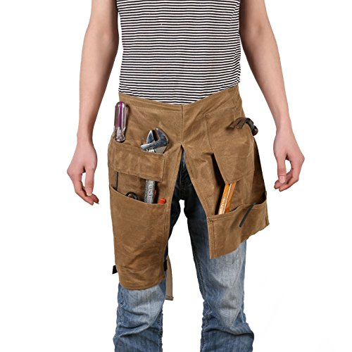 Woodworking Tools Apron Heavy Duty Waxed Canvas Workshop Apron Brown Tool Pouch Holder 10 Pockets Waterproof Tool Belt Waist Pack Gadgets/Tools for Men GJB44 ()
