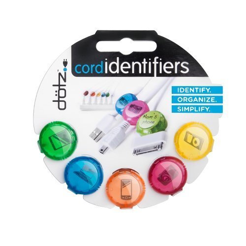 Dotz Cord Identifiers, Cord and Cable Management for Home and Office, 5 Count, Bright Colors (DCI101CO-CB)