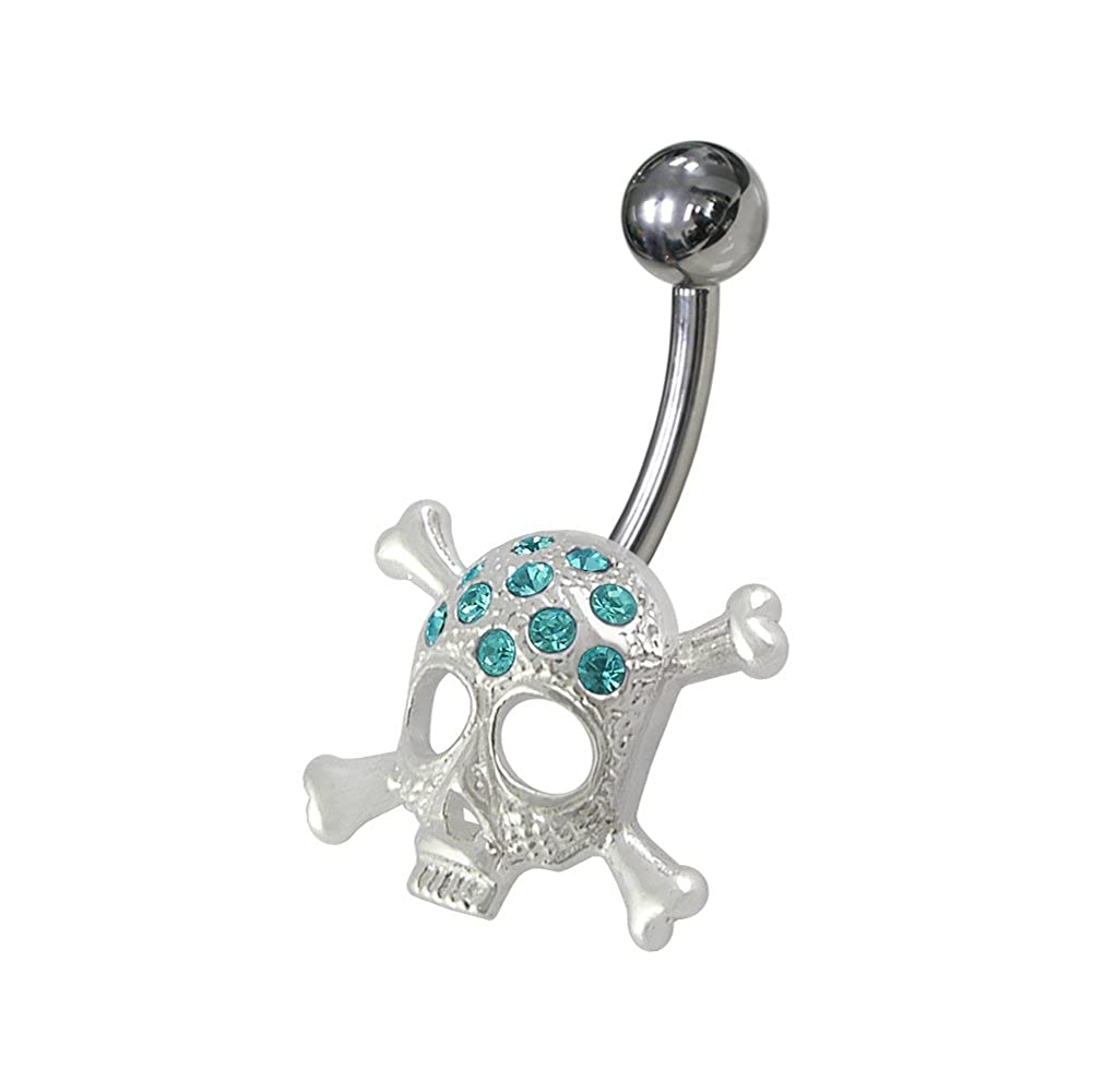 AtoZ Piercing Fancy Skull 925 Sterling Silver with Stainless Steel Belly Button Rings