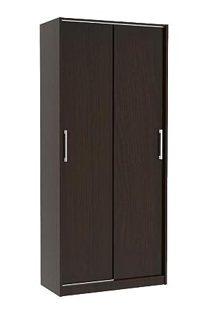 2 Door Wardrobe With Sliding Doors Hanging Rail 1 8m Tall Wooden Bedroom Cupboard For