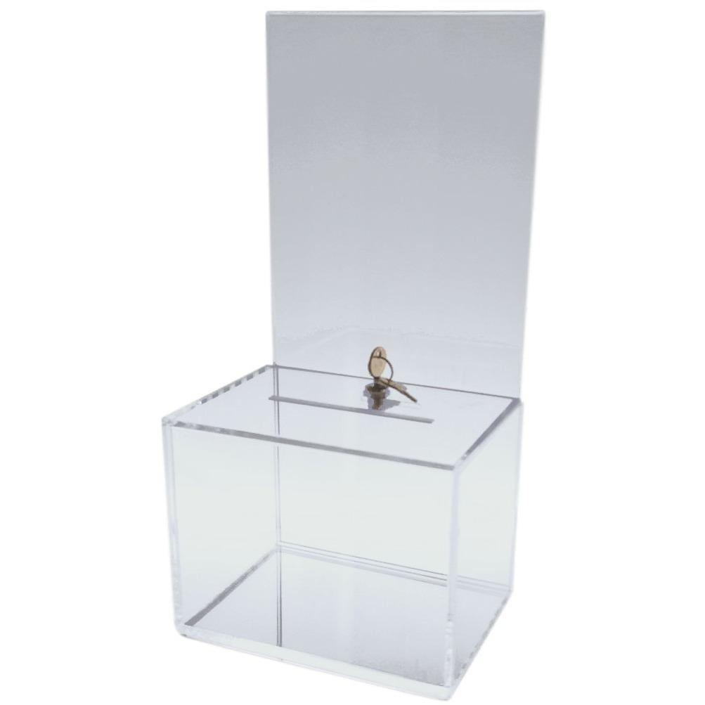 Dazzling Displays Clear Medium-Sized Acrylic Donation Box with Cam Lock and (2) Keys by Dazzling Displays