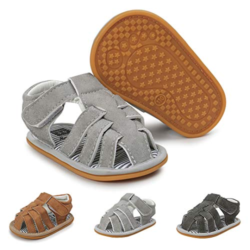 Infant Baby Boys Girls Summer Sandals Anti-Slip Rubber Sole First Walkers Crib Shoes (12-18 Months M US Infant, A-Light ()