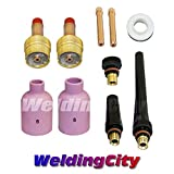 WeldingCity TIG Welding Large Gas Lens Accessory Kit (1/8'') Cup-Collet-Gas Lens-Gasket-Back Cap for Torch 17/18/26 T19