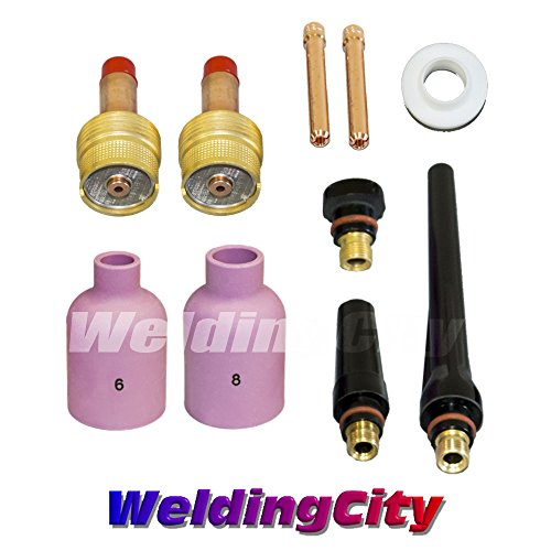 WeldingCity TIG Welding Large Gas Lens Accessory Kit (1/8'') Cup-Collet-Gas Lens-Gasket-Back Cap for Torch 17/18/26 T19 by WeldingCity