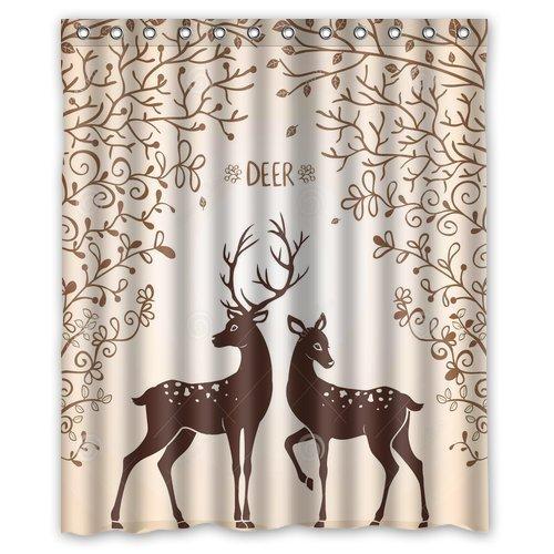 Custom Waterproof Fabric Bathroom Shower Curtain Deer 60