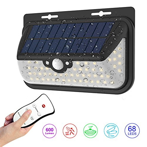 Outdoor Solar Lights 68 LED Wall Light Outdoor IP65 Waterproof Security Lighting Nightlight with Motion Sensor Detector and Remote Control