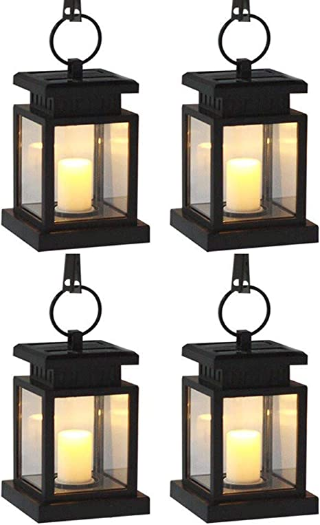 4PCS Solar Lantern Hanging Light LED Candle Yard outdoor Patio Garden Lamp US