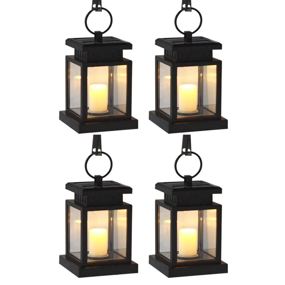 AMEI Solar Lantern, Solar LED Candle Light, Outdoor Hanging Solar Garden Light, Solar Powered Umbrella Lights with Clamp for Yard Patio Umbrella Garden Deck Lighting & Decoration Auto On/Off (4 Pack)