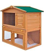 vidaXL Outdoor Rabbit Hutch Small Animal House Pet Cage 3 Doors Wood Run