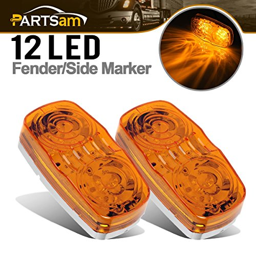 Partsam Oblong Side Marker Lamp Repeaters Amber Lens for Side Turn Marker Front Qty2 (Side Repeater Amber)