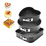 HOMOW 3Pcs Nonstick Heavy Duty Springform Pans, 9''/10''/11'' Cheesecake Mold Set with Removable Bottom, Heart Square Round Shaped (Black) NS-S3PCS