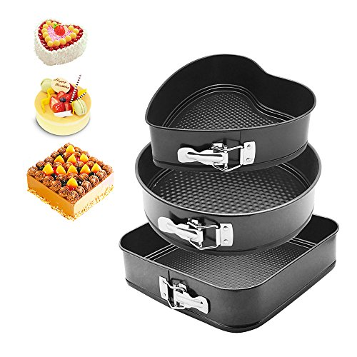 HOMOW 3Pcs Nonstick Heavy Duty Springform Pans, 9''/10''/11'' Cheesecake Mold Set with Removable Bottom, Heart Square Round Shaped (Black) NS-S3PCS by HOMOW