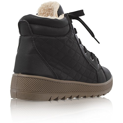 3 BOOTS UP LACE Black 8 LINED SIZE ANKLE FAUX FUR WOMENS QUILTED SNOW LADIES WINTER 7xvUnwWwg