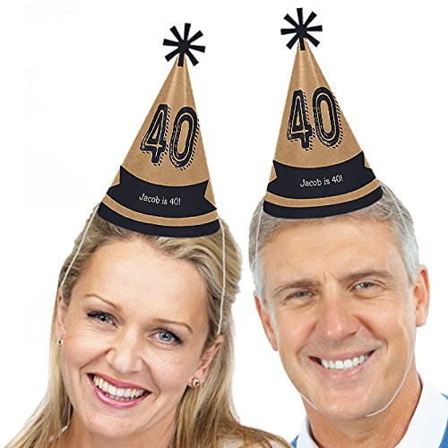 Custom Birthday Hat - Custom 40th Milestone Birthday - Dashingly Aged to Perfection - Personalized Cone Birthday Party Hats for Kids and Adults - Set of 8 (Standard Size)