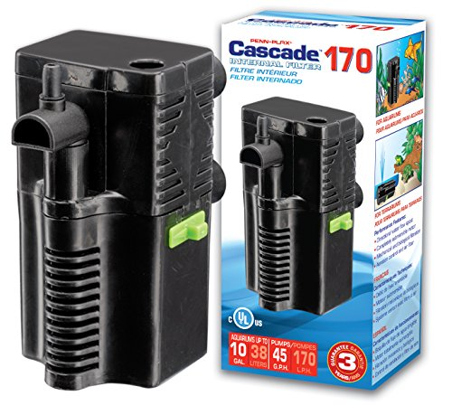 - PENN PLAX (CIF4) Cascade 170 Submersible Aquarium Filter Cleans Up to 10 Gallon Fish Tank or Terrarium With Physical, Chemical, and Biological Filtration