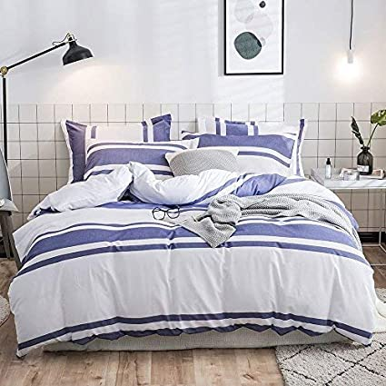King Blue Lausonhouse Cotton Duvet Cover Set,100/% Cotton Yarn Dyed Stripe Duvet Cover Set,3 Pieces Bedding Set