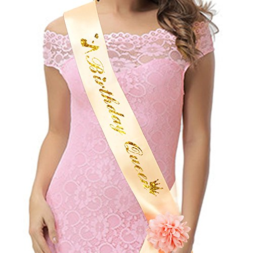 Birthday Queen Sash Champagne Gold With Flower For Women Gifts Party Favors Decorations And Supplies