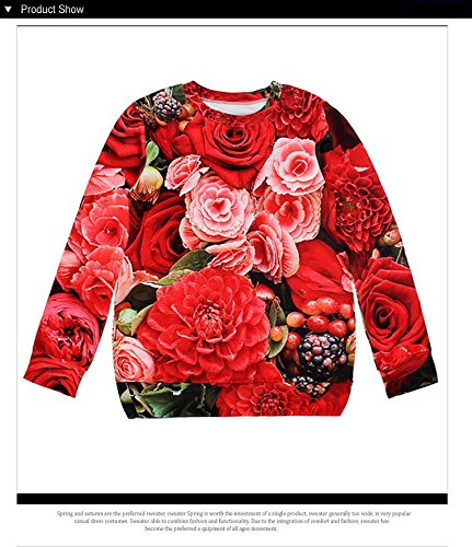 UltaPlay 3D ROSE OPEN Sweatshirt Long Sleeve Sudaderas Women Hoodies Pullovers Clothing [ WJW1009 M ]